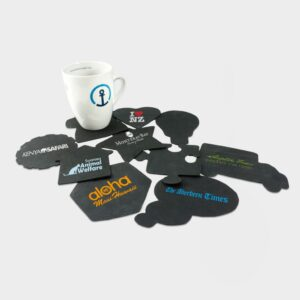 Recycled Rubber Coasters available in nine shapes