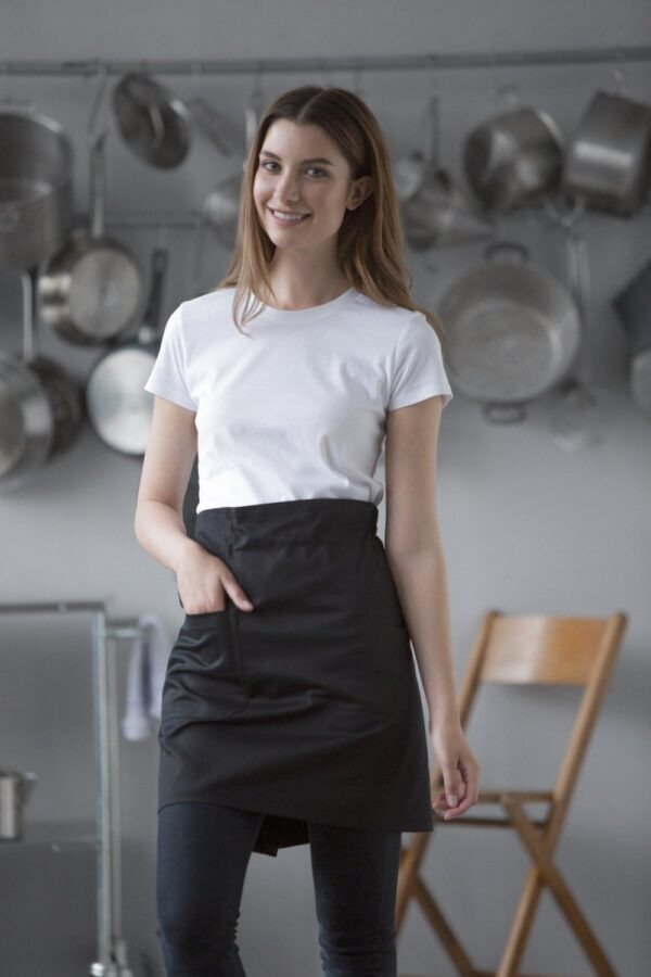 Branded promotional cafe style black apron made from fairtrade organic cotton