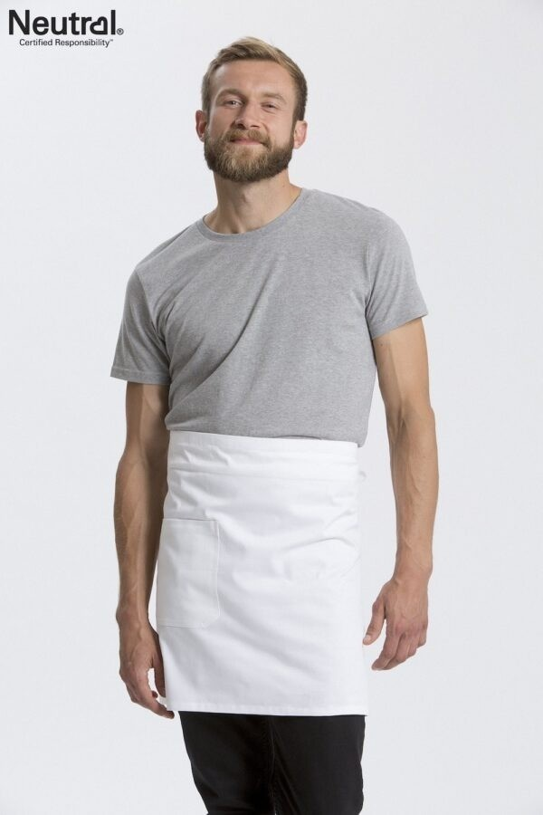 Branded promotional cafe style white apron made from fairtrade organic cotton