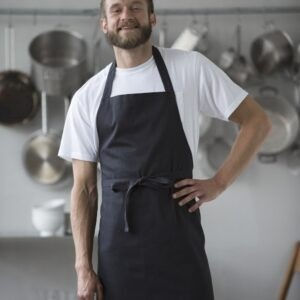 Branded promotional chef's black apron made from fairtrade organic cotton