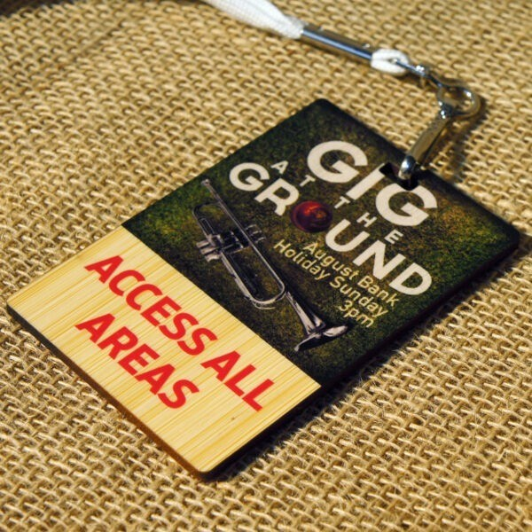 wooden lanyard tag
