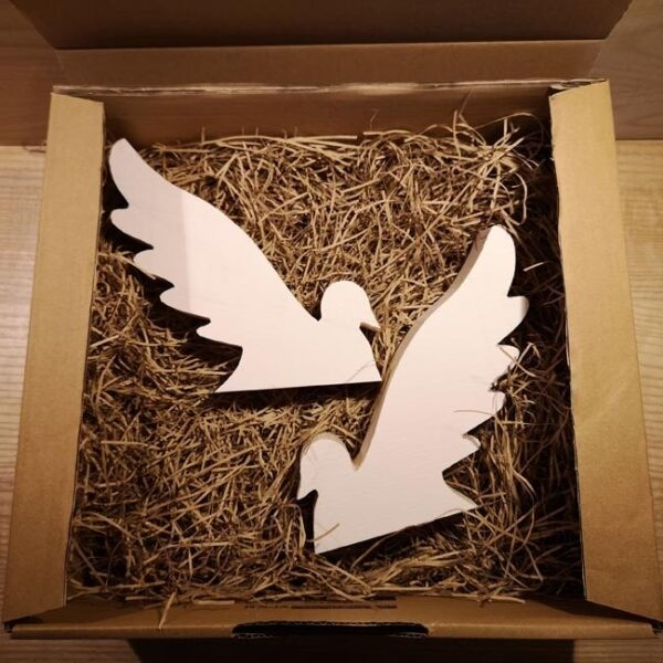 Wooden pair of Christmas Doves