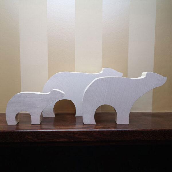 wooden Christmas Polar Bear family set